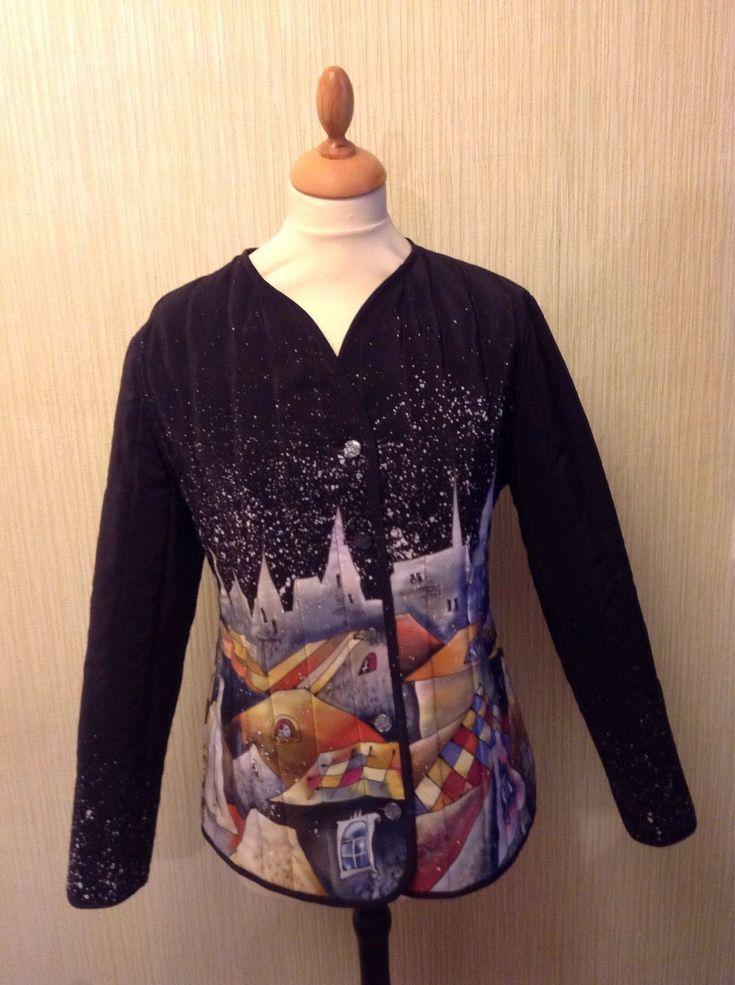 Купить Жакет двусторонний батик ручная роспись Ночной город Сакура - черный, рисунок