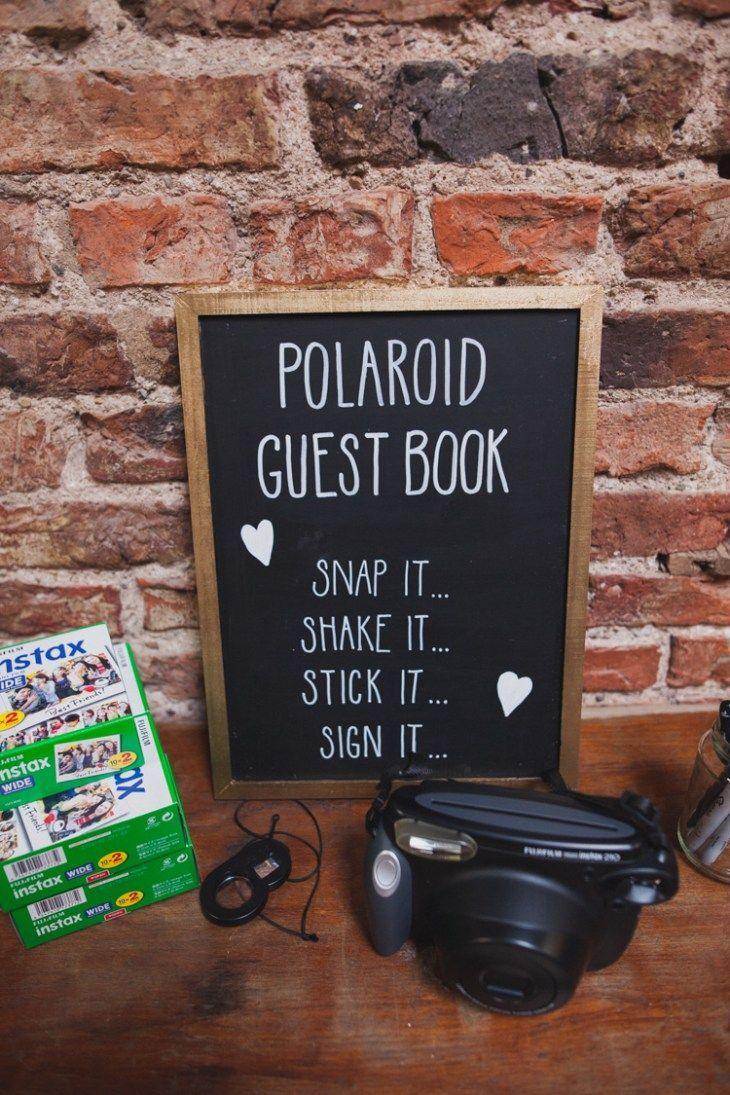 Polaroid Guest Book Photos Instax Indie Rustic DIY Fun Wedding Party www.sallytphotogr...