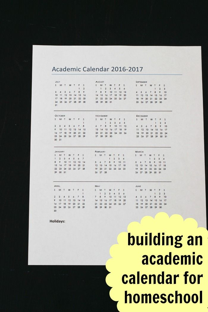 Building an Academic Calendar for Homeschool | Life as Mom - One of the benefits of the homeschool life is that you get to set the calendar! Here's how to build an academic calendar for homeschooling.