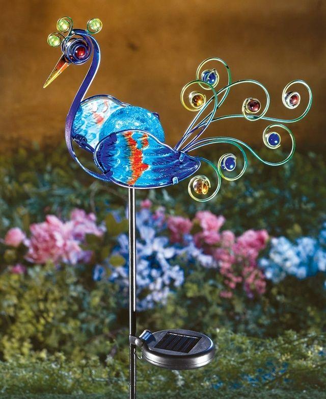Solar Lighted Peacock Decorative Gardens Pinterest