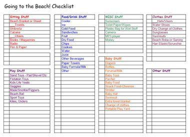 packing list for beach trip