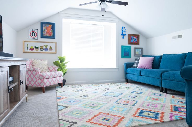Upstairs Multi Color Play Room and Teen hangout Reveal with Rugs USA's  Berber Handmade Tribal Diamonds Rug!