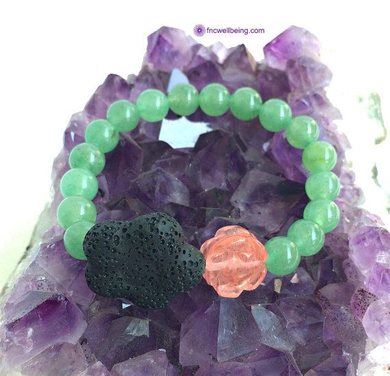 Lava Flower Rock Diffuser Bracelet w Quartz Green by FNCwellbeing