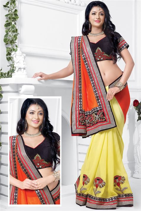 Georgette Orange, Yellow Designer party wear saree