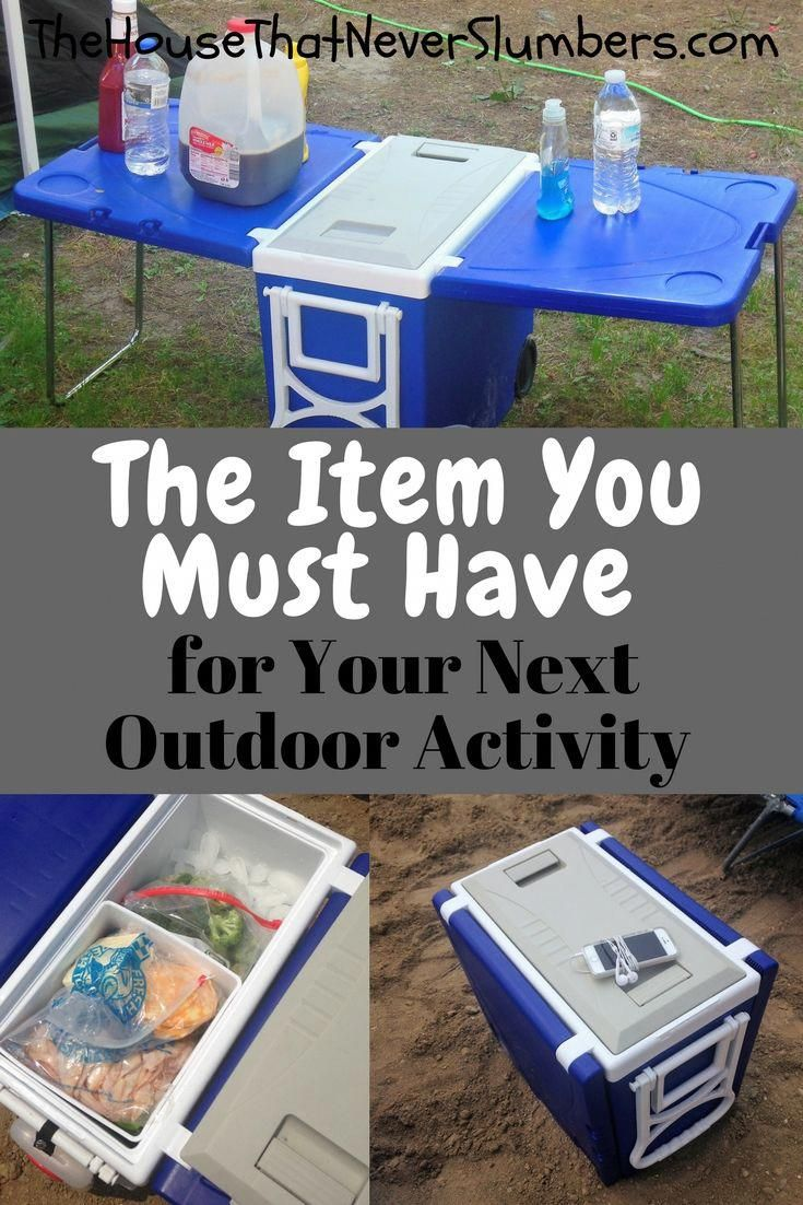 Folding Table Cooler This Product Gets Iffy Reviews But It S Something I Own And Love The House That Nev Camping Supplies Family Tent Camping Camping Fun