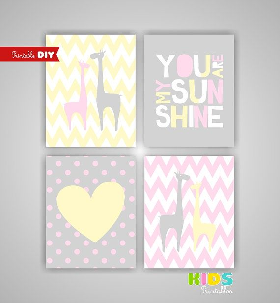 Printable Nursery art Pink Light Yellow Grey by KidsPrintablesDIY