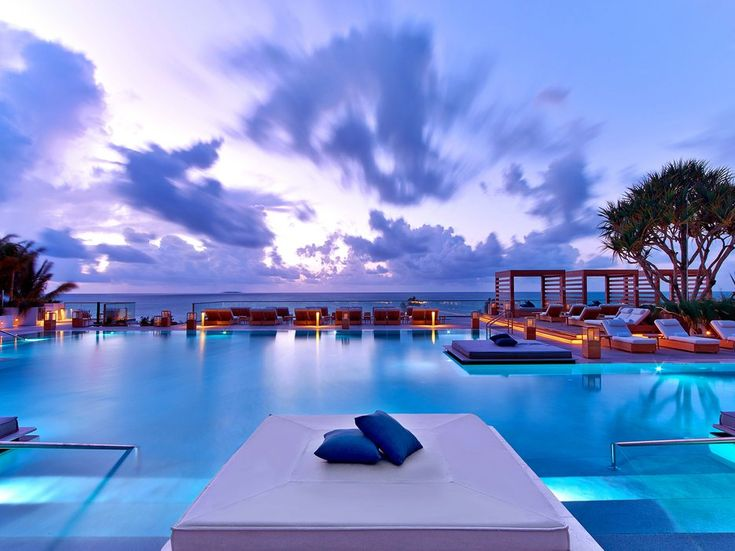 Miami Beach's largest rooftop pool soars above the 1 Hotel South Beach, enveloped by breathtaking views of skyline and ocean and lined with chic cabanas (including built-in champagne buckets, no less).
