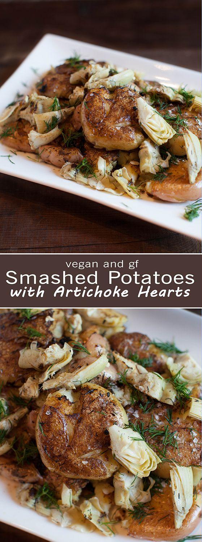 Smashed Potatoes with Artichoke - Vegan & GF