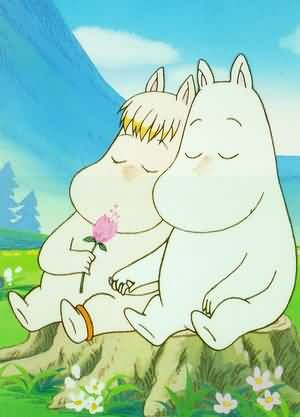 Moomintroll and Snorkmaiden... Like and my Sweetheart <3