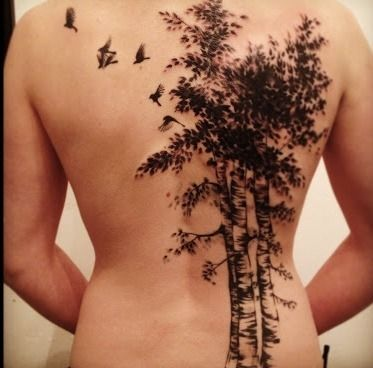 Birds and Birch Tree Tattoo on Back #treetattoosonback