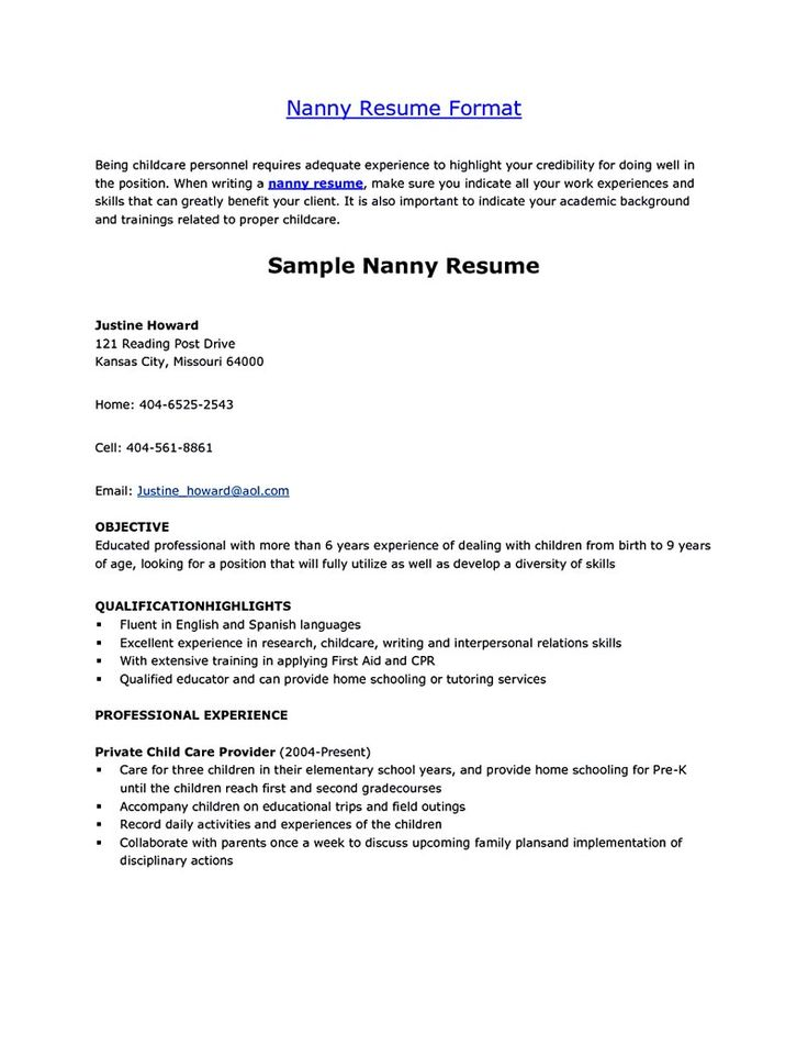 Nanny Resume Example | Resume Examples And Free Resume Builder