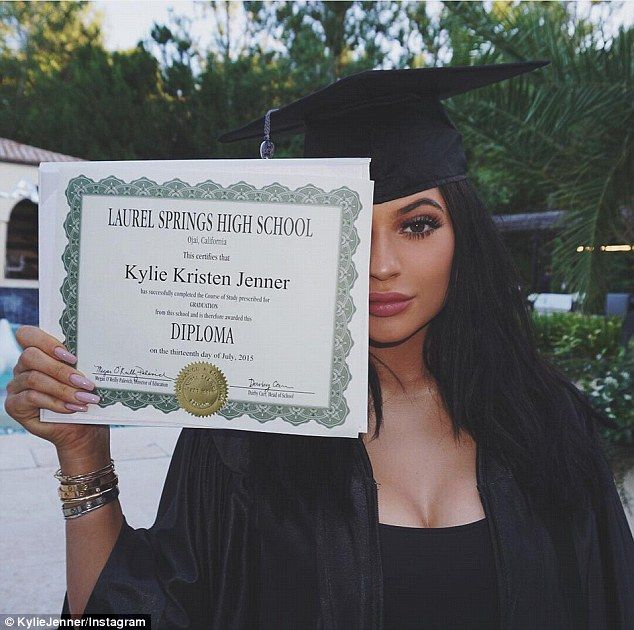 She did it! Kylie Jenner showed off her high school diploma at her surprise graduation party on Thursday