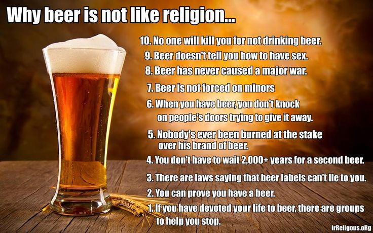 Funny Why beer is not like religion meme