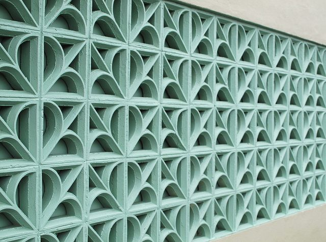 """concrete blocks painted aquablue"""