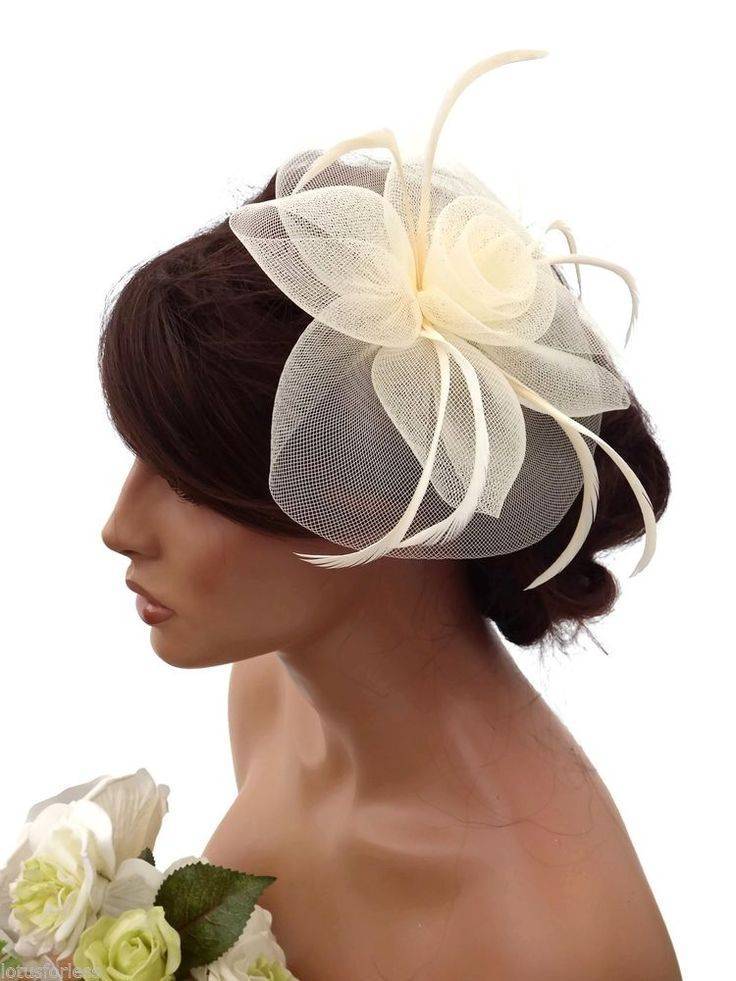 Elegant Cream Large Flower Mesh Net Hair Clip Grip Fascinator Feathers Races