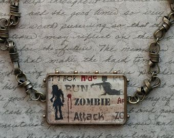 Zombie Attack Halloween Pendant Necklace - Spellbinders Bezel, Paper, Resin, Bronze Twisted Chain - FREE U.S. Shipping!