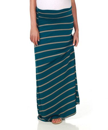 This Teal & Mocha Stripe Over-Belly Maternity Maxi Skirt by PinkBlush Maternity is perfect! #zulilyfinds