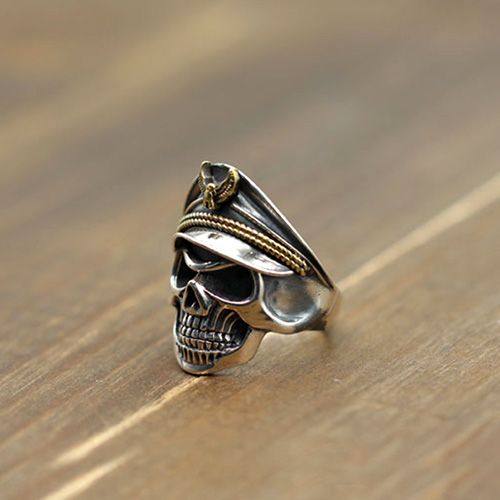 Men's Sterling Silver Eagle Hat Skull Ring