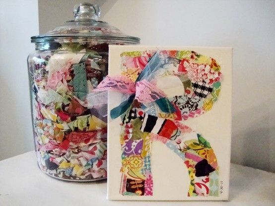 Scrap fabric initial on canvas. Cute idea. Could do the same in a grown ups room as well!