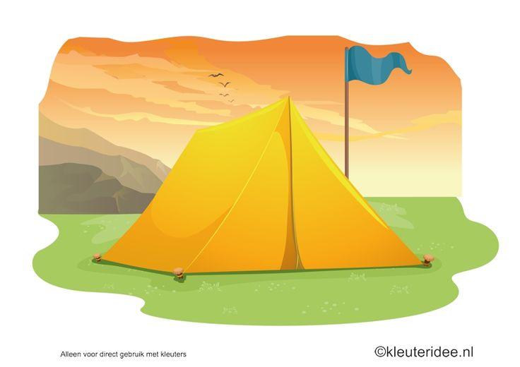 Kaartenset (20 kaarten) visuele discriminatie en kritisch luisteren voor kleuters 2, thema camping, kleuteridee.nl, juf Petra,  preschool visual discrimination, camping theme
