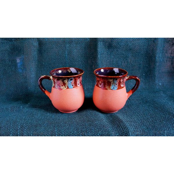 Fall gift ideas for mom Orange ceramic tea mugs Set of 2 cups Pottery... ($27) ❤ liked on Polyvore featuring home, kitchen & dining, drinkware, couple mugs, ceramic mugs, ceramic tea mugs, tea cup and tea mug set