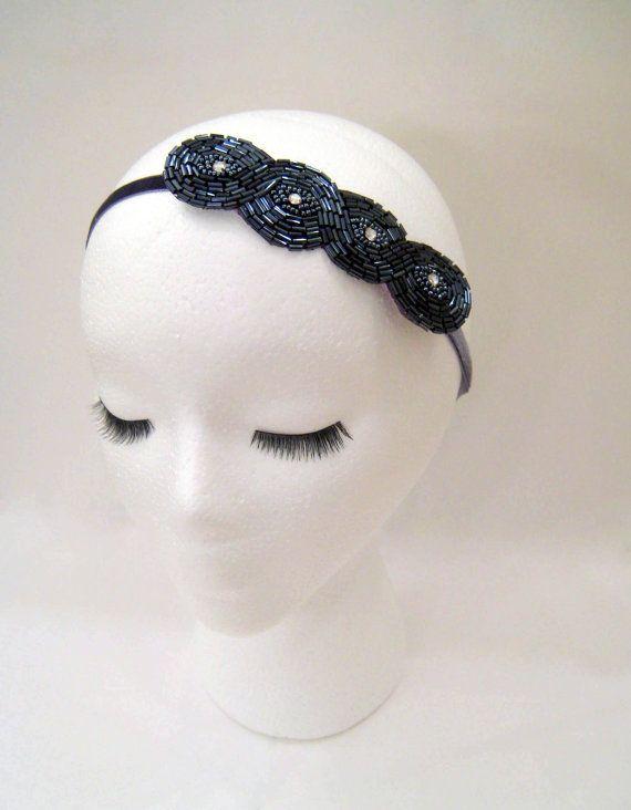 1920s style flapper headband art deco silver by ShorelandChic