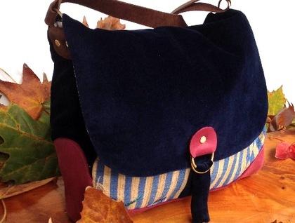 Pick and Mix Florence Satchel Bag - Blue velvet  Floral Stripe
