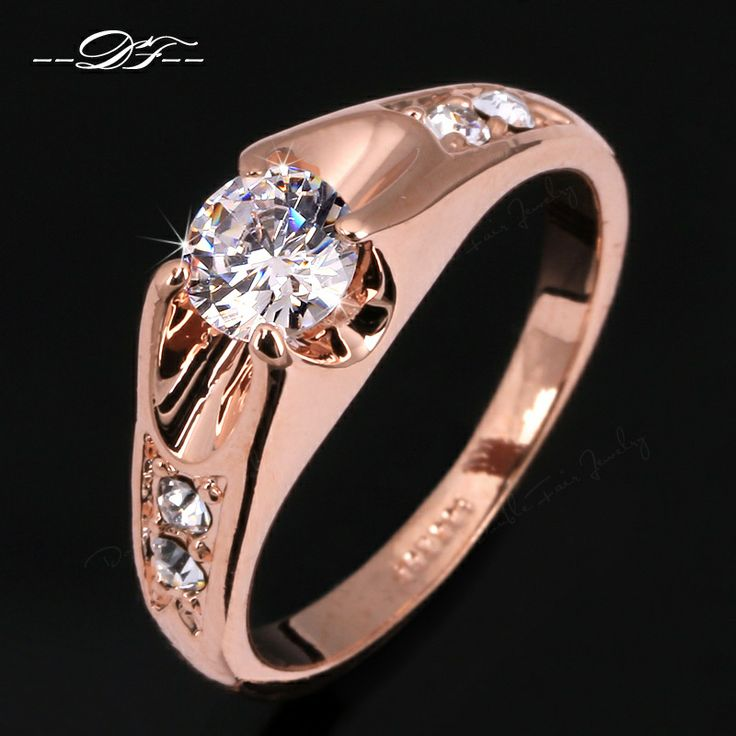 Fabulous Online Cheap Cz Diamond Wedding Finger Rings Gold Plated Cubic Zircon Crystal Engagement Party Jewelry For Men And Women Wholesale By Double fair