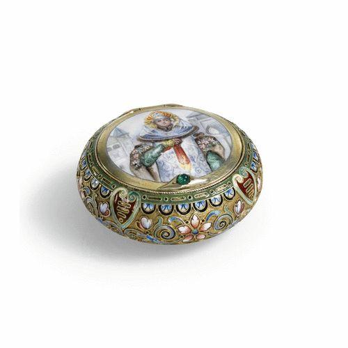 silver-gilt and cloisonné enamel pill box, 11th Artel, Moscow, 1908-1917
