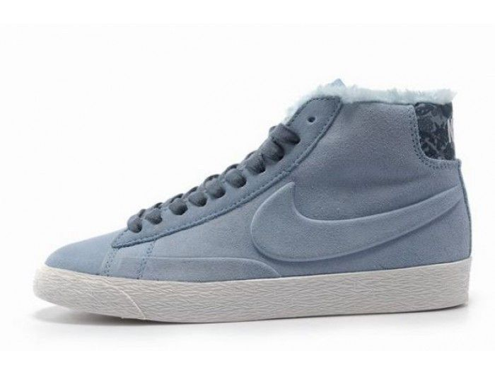 Nike Blazer High Suede Laine Chaussure pour Homme Bleu clair Blanc,HOT SALE!