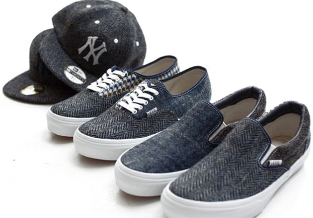 Vans Beauty & Youth Harris Tweed sneakers. Just the thing to wander campus in wearing your sportscoat with elbow patches.