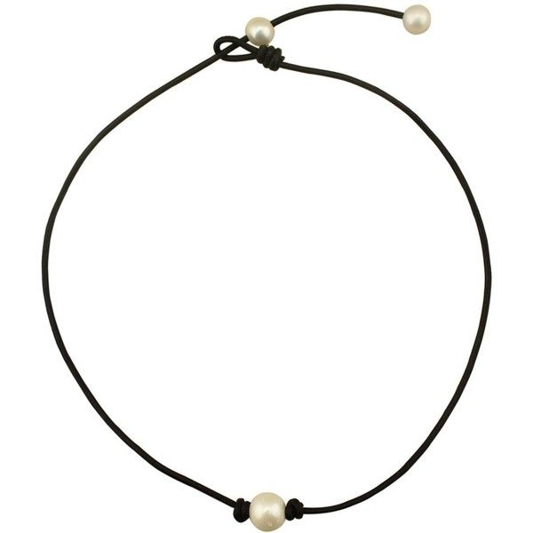 Single Pearl Choker Necklace on Black Genuine Leather for Women ($14) ❤ liked on Polyvore featuring jewelry, necklaces, accessories, white pearl choker necklace, leather choker, pearl choker necklace, leather jewelry and choker jewelry
