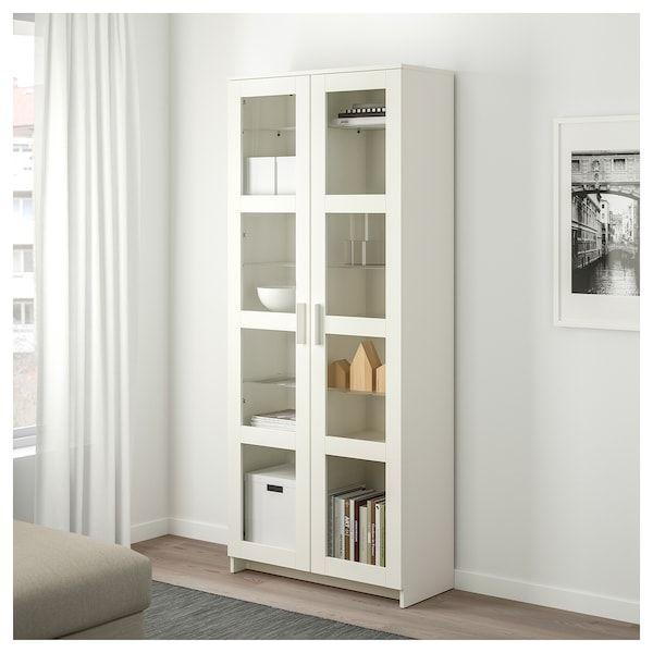 Brimnes Vitrine Blanc 80x190 Cm Ikea Armoire Avec Portes Vitrees Etagere En Verre Rangement Pour Porte