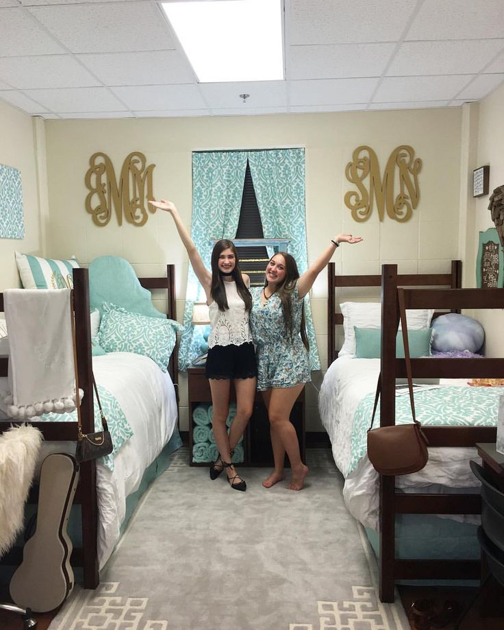 Aqua, gold, and white dorm room at Baylor University