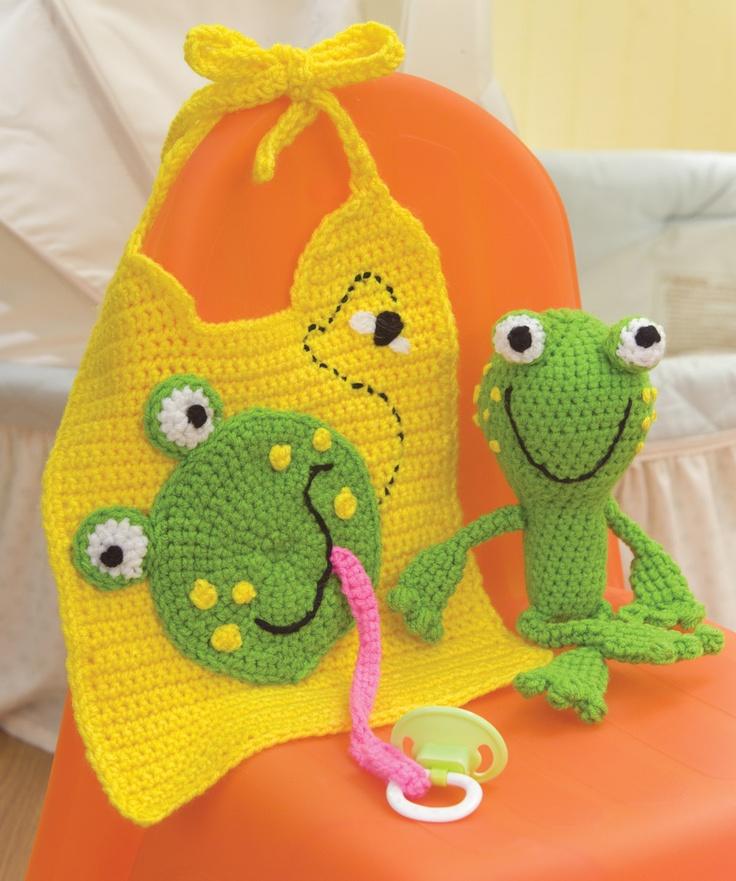 Fun Froggy Crochet Bib & Rattle