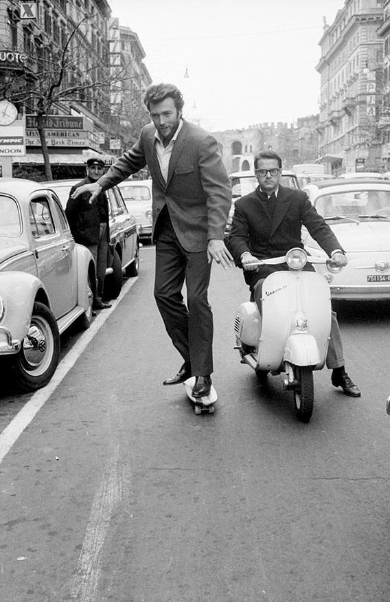 Clint Eastwood skateboarding in Rome, 1965