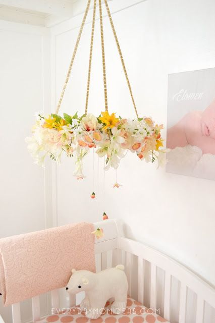 DIY Floral Baby Mobil Kronleuchter (Full Tutorial)  – Everyday Mom Ideas Creations