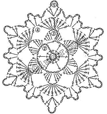 Crochet snowflake hexagon chart / diagram 1001 узор. Узоры крючком. Мотивы
