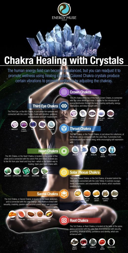 Balance, align and cleanse your chakras with crystals! Colored chakra crystals produce certain vibrations to help balance, align and cleanse your 7 chakras. #crystals #chakras #healing