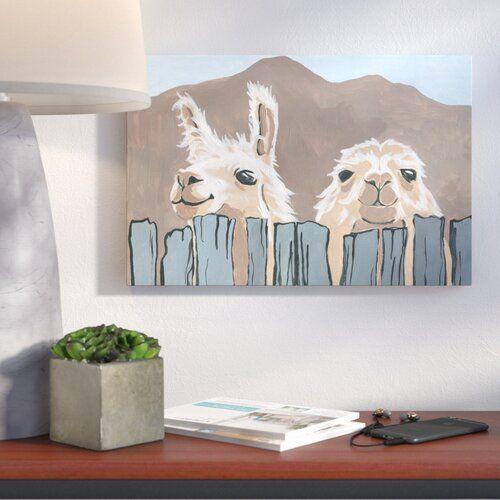 Peekaboo Llamas Acrylic Painting Print On Wrapped Canvas Painting Canvas Art Prints Painting Prints