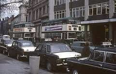 Taxi rank and buses in the Old Market Square (1960's)