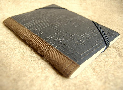 I love this! Hand sewn Book Cover. Hand Bound.