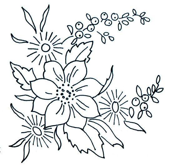 Genuine 1950s Vintage WELDONS Pretty Dog-Rose Floral Spray Unused Embroidery Transfer