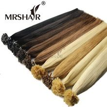 "MRSHAIR Nail U Tip Hair Extensions 16"" 20"" 24"" 1g/pc Straight Pre Bonded Hair On Keratin Capsules Hot Fusion Extensions 50pcs US $22.32"