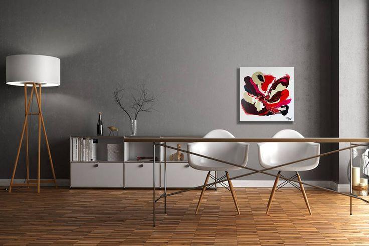 Acrylmalerei - Gemälde Fluent red - Abstrakt Acryl Leinwand  - ein Designerstück von GalerieMiMo bei DaWanda