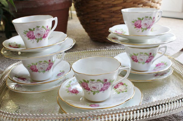 Vintage fine bone china tea cups saucer Trio Tea Set Clare  Floral Gold white