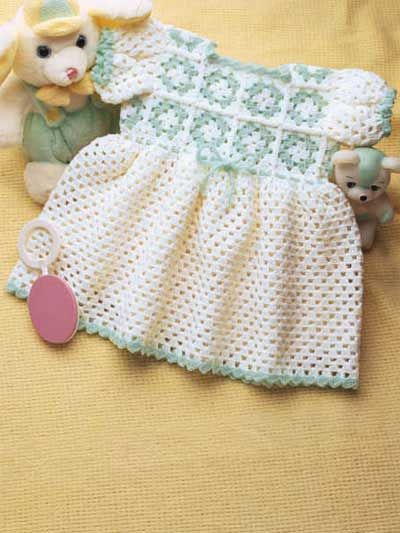"""Granny Yoke Baby Dress  Dress your little one up in this cute little outfit! Fits infants size: With 0 steel hook, fits 9-12 months (20"""" chest). With E hook, fits 12-18 months(22 1/2"""" chest).  Designed by Valerie Moffitt  free pdf from free-crochet.com"""