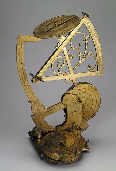 Multi-Purpose Nautical Astronavigational Instrument (comprising universal mechanical sun-dial) ,   1697 Italy