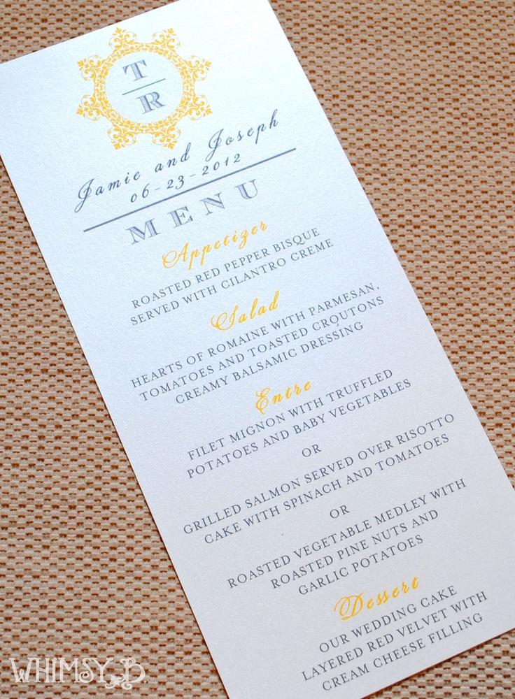 Yellow Orange Wedding Dinner Menu Wedding by WhimsyBDesigns