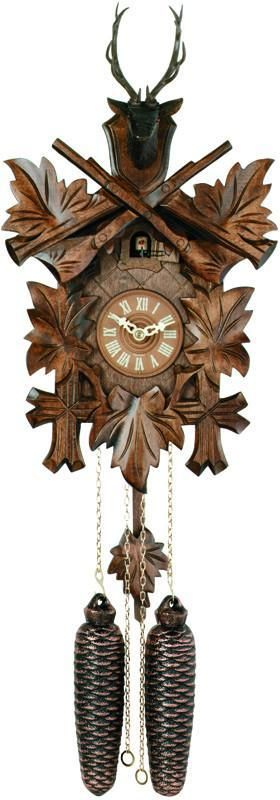 Eight Day Hunter's Cuckoo Clock with Hand-carved Maple Leaves, Rifles, and Buck - 15 Inches Tall
